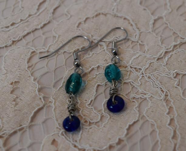 Blue and Teal Dangle Earrings