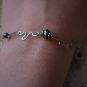 Twisted Wire Bracelet with Metallic Beads