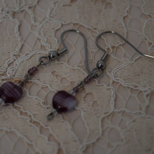 Purple Heart Dangle Earrings