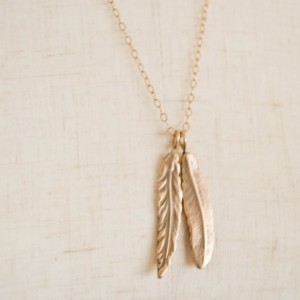 Wild & Free Feather Charm Bronze Necklace. Minimalist Statement Jewelry. Long and Layered Jewelry