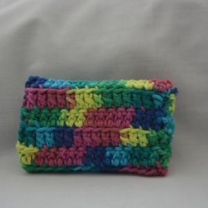 Rainbow color pattern crochet wallet, handmade crochet wallet, coin purse, cotton crochet wallet, business card holder, crochet wallet snap