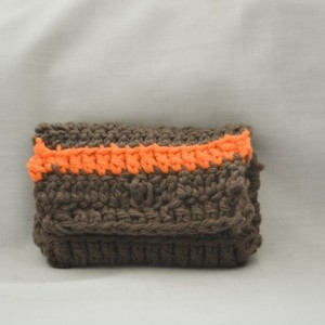 Brown orange stripe crochet wallet, handmade crochet wallet, coin purse, cotton crochet wallet, business card holder, crochet wallet snap