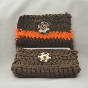 Brown orange stripe crochet wallet, handmade crochet wallet, coin purse, cotton crochet wallet, business card holder, crochet wallet snap