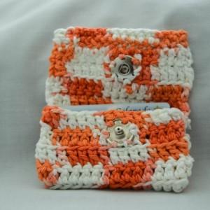 Orange checker crochet wallet, handmade crochet wallet, coin purse, cotton crochet wallet, business card holder, crochet wallet snap