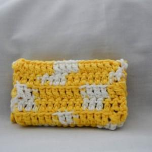 Yellow checker crochet wallet, handmade crochet wallet, coin purse, cotton crochet wallet, business card holder, crochet wallet snap