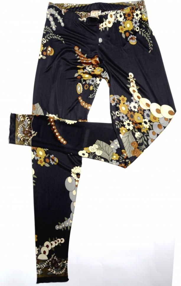 Soul Kitchen 1960s Floral Print Silk Jersey Leggings
