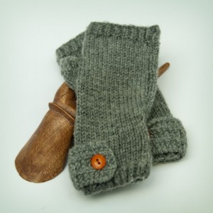 Hand Knit Railroad Track Band Fingerless Mitts