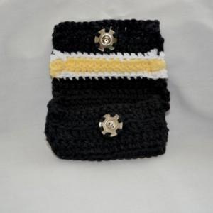 Black yellow stripe crochet wallet, handmade crochet wallet, coin purse, cotton crochet wallet, business card holder, crochet wallet snap