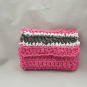 Pink stripe crochet wallet, pink wallet, handmade crochet wallet, coin purse, crochet wallet, business card holder, crochet wallet snap