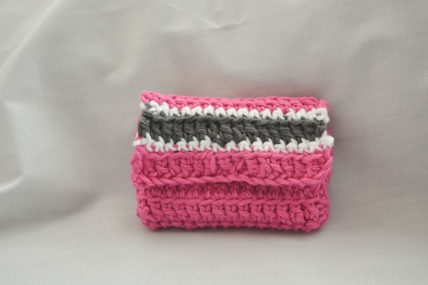 Pink stripe crochet wallet, pink wallet, handmade crochet wallet, coin purse, crochet wallet, business card holder, crochet wallet snap