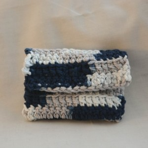 Navy blue gray patch crochet wallet, handmade crochet wallet, coin purse, cotton crochet wallet, business card holder, crochet wallet snap