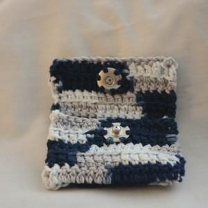 Navy blue gray patch crochet wallet, handmade crochet wallet, coin purse, cotton crochet wallet, business card holder, crochet wallet snap