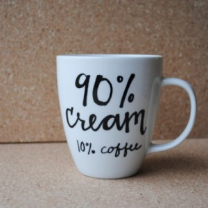 90 percent cream 10 percent coffee White Ceramic Mug