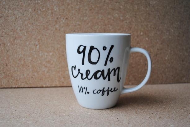 90 percent cream 10 percent coffee White Ceramic Mug