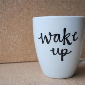 Wake Up White Ceramic Mug