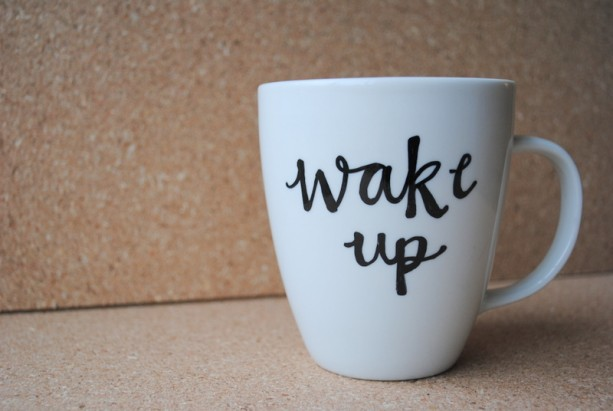 Wake Up White Ceramic Mug