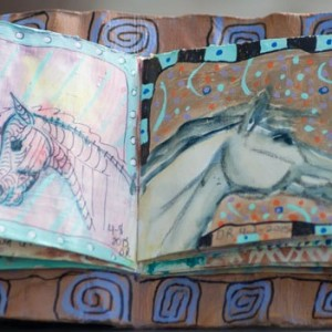 Handmade junk journal, home made book of horse art paintings