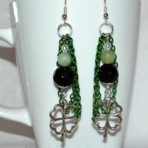 """St Patrick Shamrock Earrings with BLACK ONYX & JADE GEMSTONE with Green Chain 2.5"""" long"""