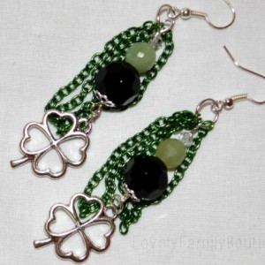 "St Patrick Shamrock Earrings with BLACK ONYX & JADE GEMSTONE with Green Chain 2.5"" long"