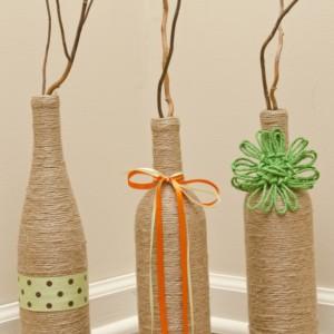 Jute Wraped Wine Bottles