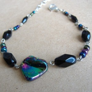 Black and Rainbow Glass Beaded Bracelet