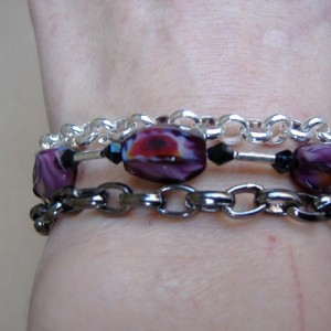 Multi Strand Chain and Glass Beads Bracelet