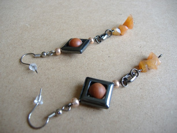 Hematite and Aventurine Gemstone Earrings