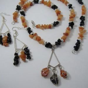 Orange Aventurine and Obsidian Jewelry Set