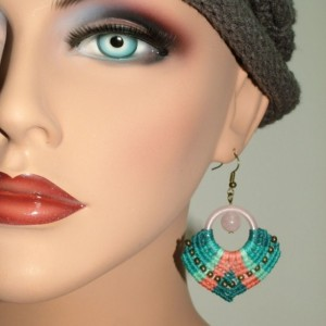 Salmon/Teal Macrame Earrings EM-002