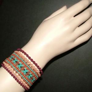Multicolored Macrame Cuff Bracelet AB-002