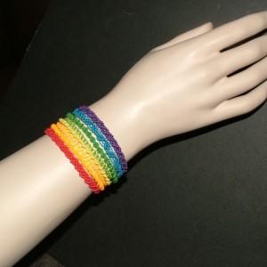 Rainbow Macrame Cuff Bracelet AB-007