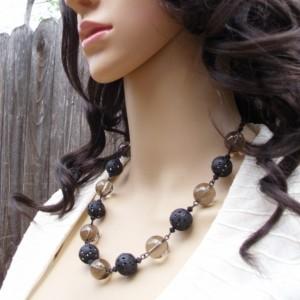 Smoky Quartz and Black Filigree Necklace