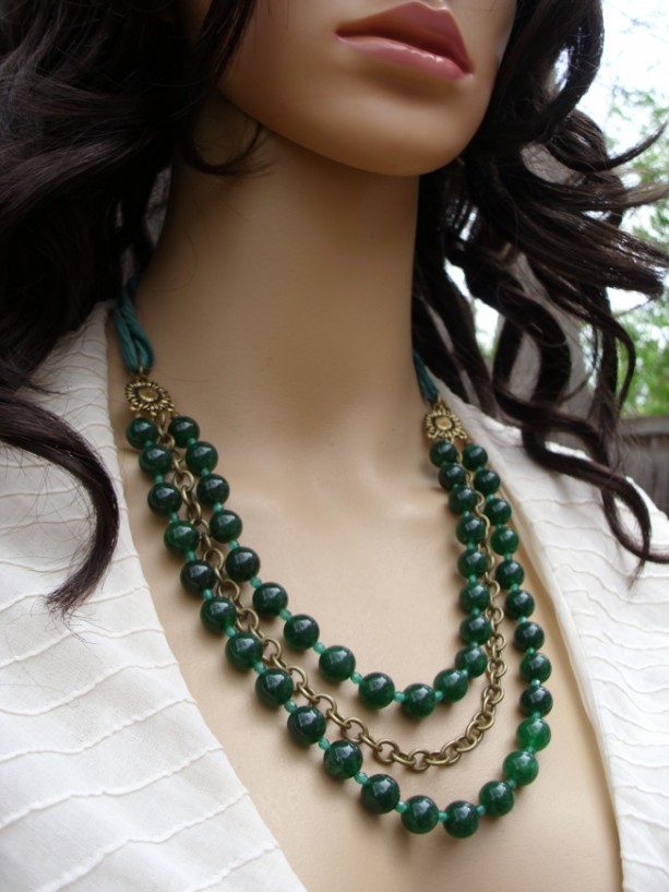 Triple Strand Dark Green Jade and Brass Necklace