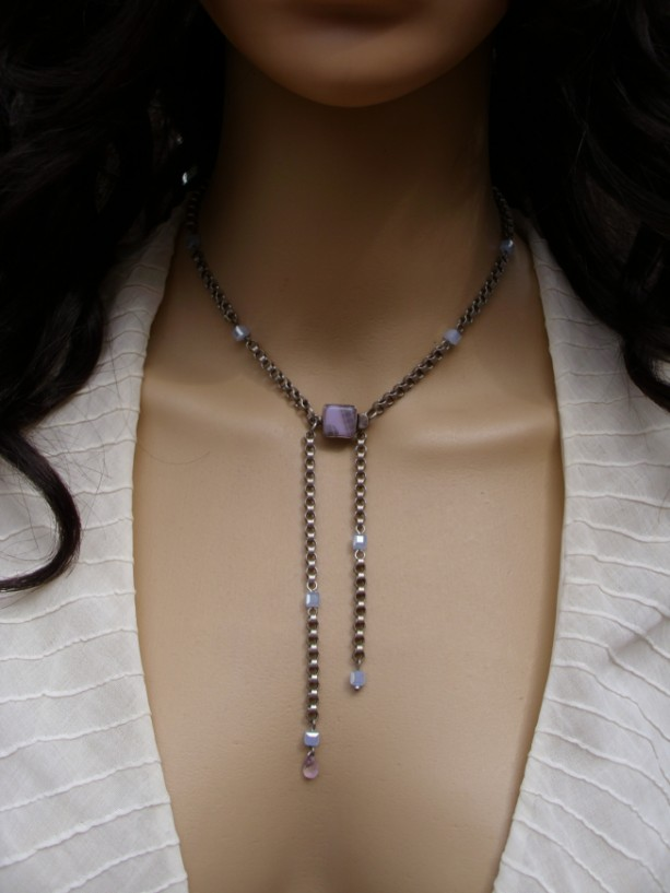 Front-Clasping Lariat Style Periwinkle Necklace