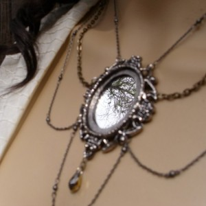Two Toned Chain Draped Mirror Necklace