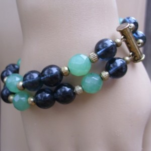 Serpentine And Navy Glass Double Strand Bracelet