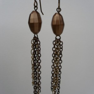 Vintage Bead and Bronze Tassel Earrings