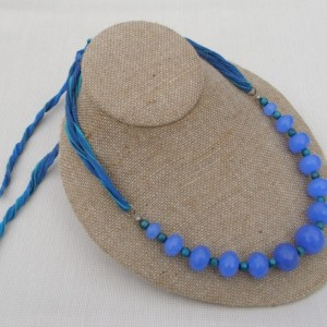 Cornflower Blue Faceted Quartz And Silk Cord Necklace