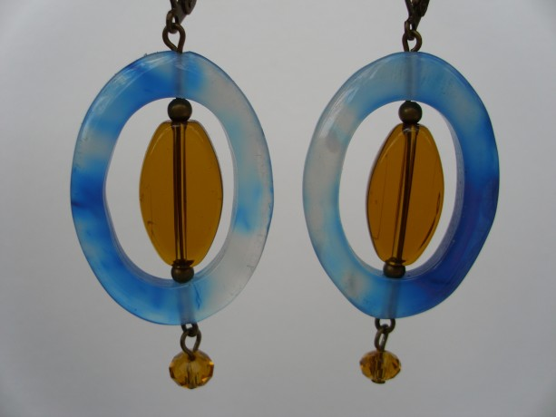 Oval Blue Agate and Amber Glass Earrings