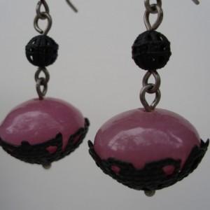 Pink Glass And Black Metal Filigree Earrings