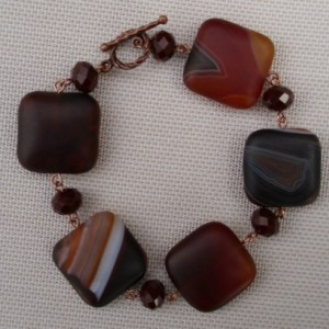 Square Banded Onyx and Dark Red Velvet Crystal Bracelet