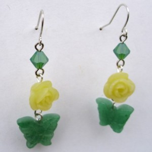 Jade Butterfly, Jade Rose, And Swarovski Crystal Earrings