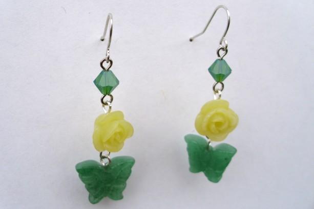 Jade Butterfly, Jade Rose, And Swarovski Crystal Earrings