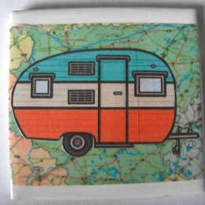 Set of 6 Camping Vintage Look Air Stream Camper Drink Coasters