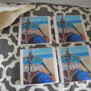 Nautical Row Boat Ocean Set of 4 Coasters, beautiful beach house decor, lake house decor