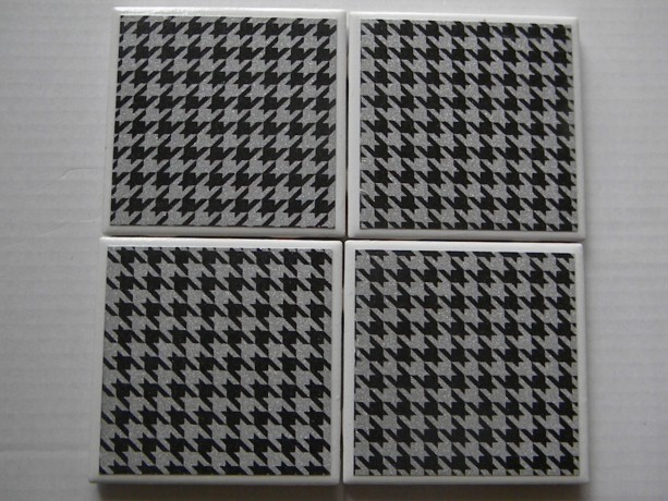 Black and Silver Glitter Houndstooth Set of 4 Drink Coasters, Great Wedding or Bridal Shower Gift