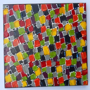 Abstract Colorful Painting ORIGINAL Contemporary Art 12x12 by A.Saldivar