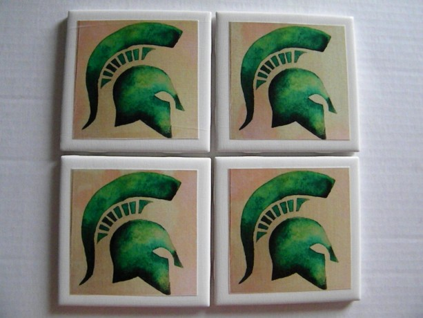 Spartan Set of 4 Drink Coasters, Beautiful Set, Football, Man Cave, State Decor
