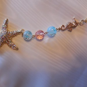 Golden Rhinestone Starfish Rear View Mirror Decor