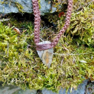 Brown Hemp Arrowhead Necklace